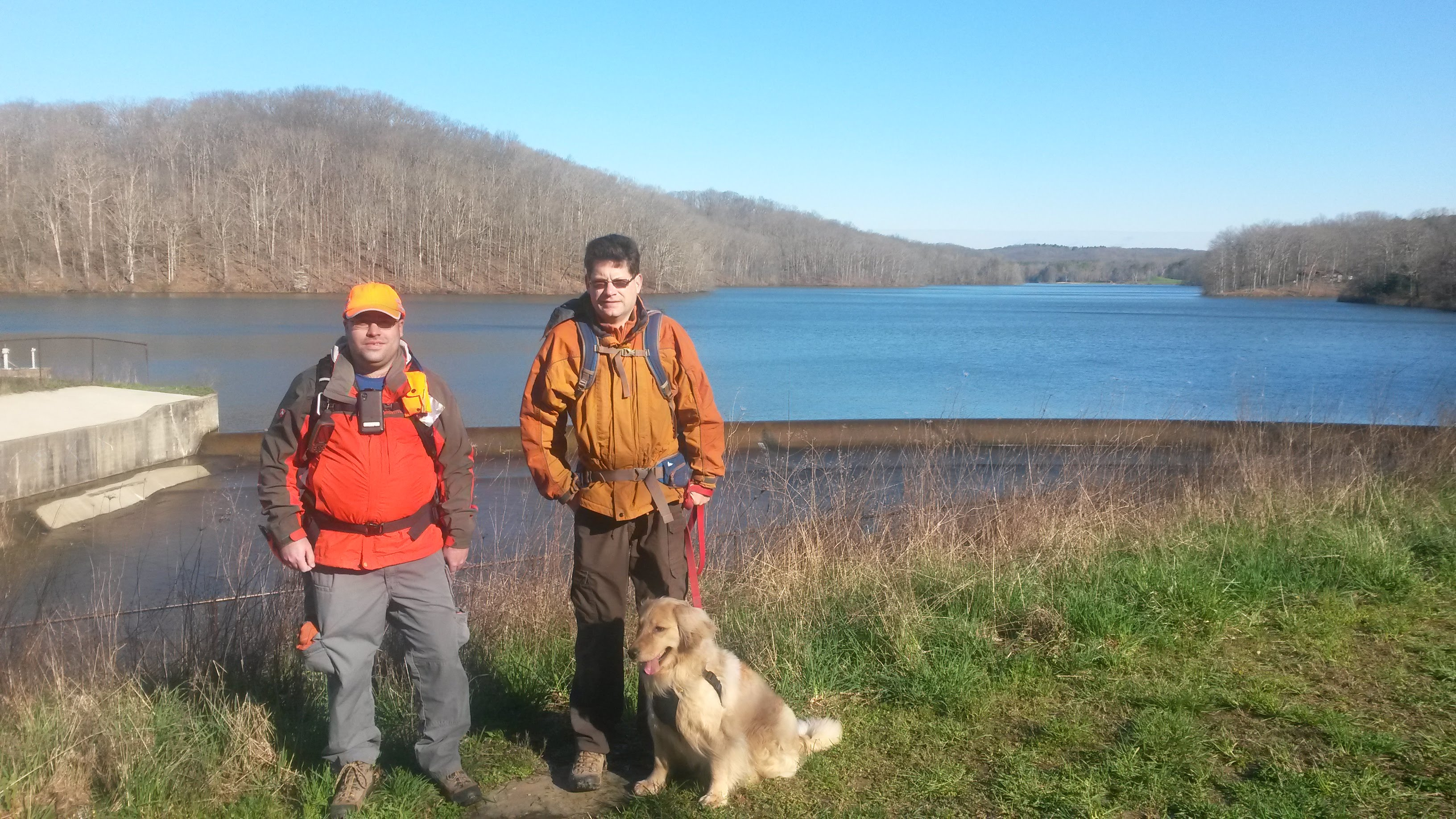 Members of Argus hiking near Lake Lemon